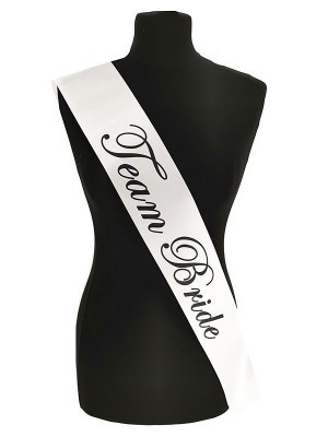 White With Black Writing 'Team Bride' Sash
