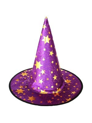 Purple & Gold Stars Wizard & Witches Pointed Hat Halloween Fancy Dress Accessory