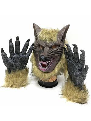 Fancy Dress, Costume Halloween Wolf Head Mask and Paws