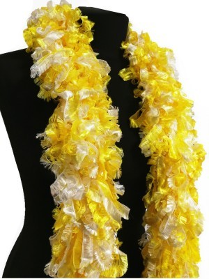 Luxurious Yellow & White Featherless Boa