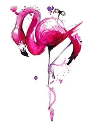 Pink Flamingo Medium Temporary Tattoo Body Art Transfer No. 842