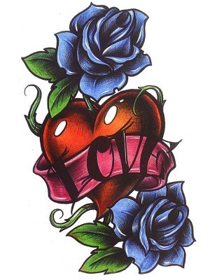 Traditional Heart and Rose Love Banner Medium Temporary Tattoo Body Art Transfer No. 137