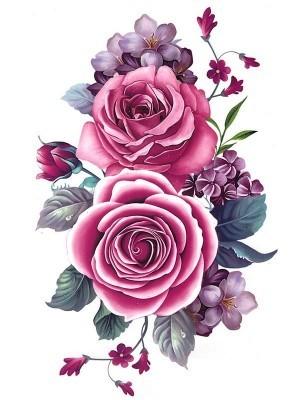 Pretty Pink Rose Medium Temporary Tattoo Body Art Transfer No. 153