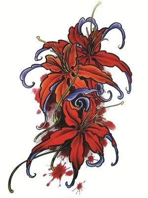 Red Lilies Medium Temporary Tattoo Body Art Transfer No. 168