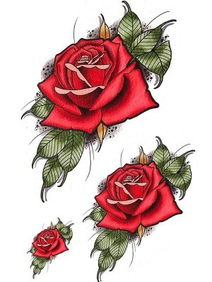 Traditional Red Rose Medium Temporary Tattoo Body Art Transfer No. 25