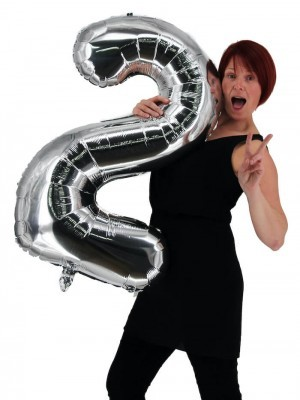 Extra Large size 40 Inch Inflatable Silver Balloon Number 2