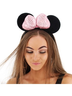 3D Light Pink Sequin Bow Mouse Ears