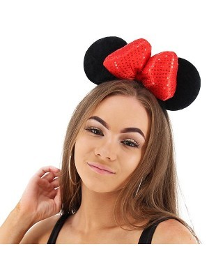3D Red Sequin Bow Mouse Ears