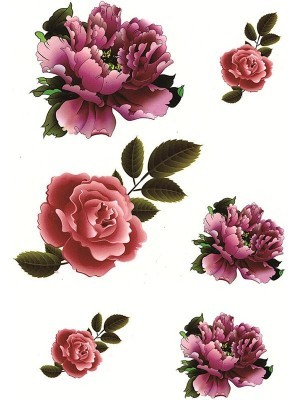 Mixed Pink and Purple Flower Medium Temporary Tattoo Body Art Transfer No. 56