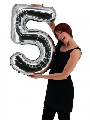 Extra Large size 40 Inch Inflatable Silver Balloon Number 5