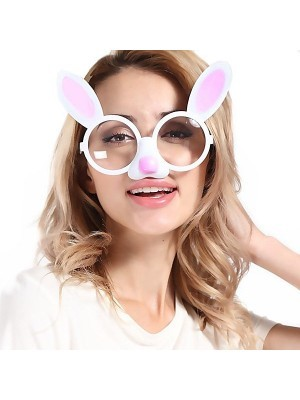 Easter Bunny Ears And Pink Nose Sunglasses