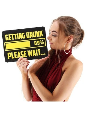 'Getting Drunk, Please Wait' Rectangle Word Board Photo Booth Prop