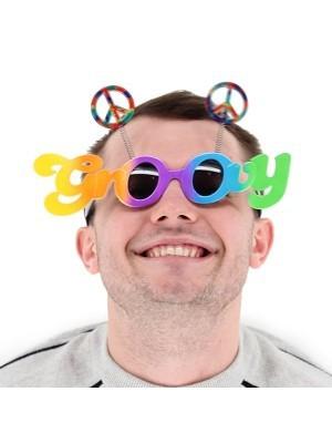 'Groovy' Framed Rainbow Coloured Peace Bopper Sunglasses
