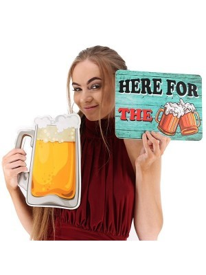 'Here For The Beer' Rectangle Word Board Photo Booth Prop