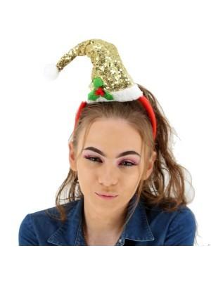 Sparkly Sequined Gold Santa Hat Headband