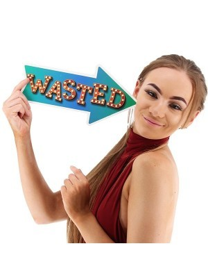 'Wasted' Vegas Lights Arrow Word Board Photo Booth Prop
