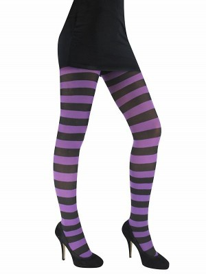 Adult Tights - Purple & Black Striped