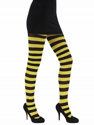 Adult Yellow & Black Striped Tights