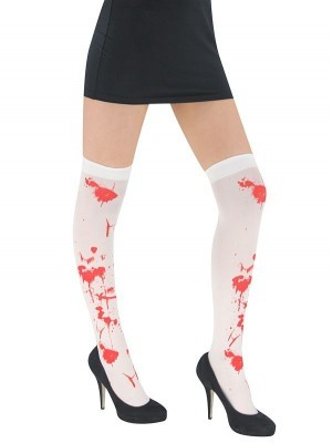 Adult Halloween Stockings - White with Red Bloody Wounds