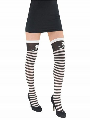 Adult Pirate Black and White Stockings