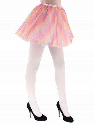 Adult - Pastel Pink and Rainbow Striped Tutu Skirt