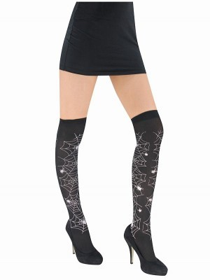 Adult White Spider Web Halloween Stockings