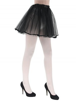 Adult - Black Tutu Skirt with Ribbon Trim