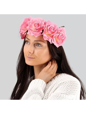 Beautiful Pink With White Garland Flower Headband