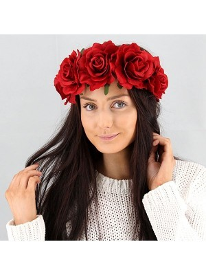 Beautiful Ruby Red Garland Flower Headband