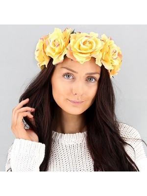 Beautiful Yellow With Pink Garland Flower Headband