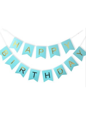 Blue With Gold Happy Birthday Banner Party Decorations