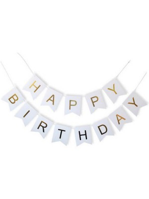 White With Gold Happy Birthday Banner Party Decorations