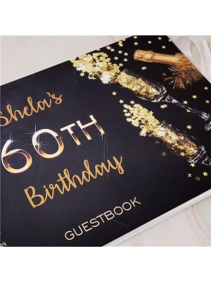 CUSTOM Black With Gold Birthday Confetti Guestbook with Different Page Options