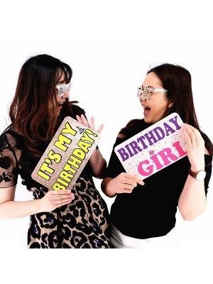 Birthday Girl & It's My Birthday, Double-Sided PVC Rectangle Photo Booth Word Board Signs