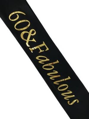 Black With Gold Foil '60 & Fabulous' Birthday Sash