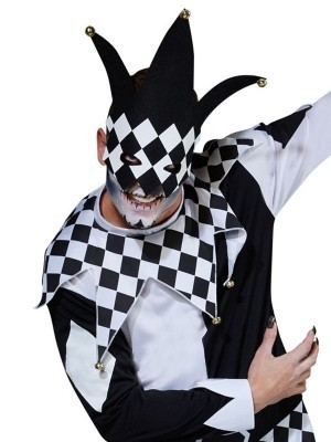Black and White Creepy Jester Men's Halloween Costume
