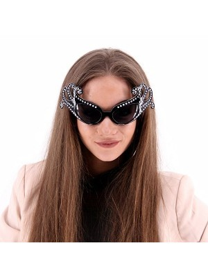 Black Fancy Dame Edna Style Sunglasses