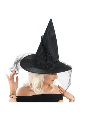 Flowered Black Witches Pointed Hat with Net Veil Halloween Fancy Dress Accessory