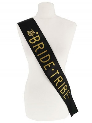 Black With Gold Writing 'Bride Tribe' Arrow Sash