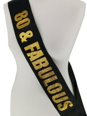 Black With Gold Glitter '80 & Fabulous' Birthday Sash