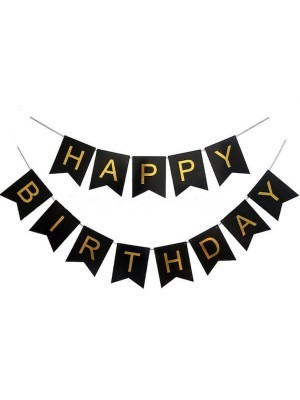 Black With Gold Happy Birthday Banner Party Decorations