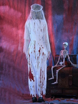 Bloody Long Zombie Bride Halloween Fancy Dress Costume- One Size