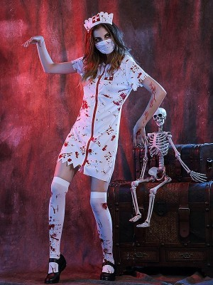 Bloody Zombie Nurse Halloween Fancy Dress Costume - One Size