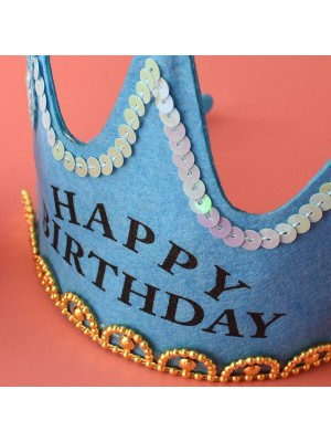 Blue 'Happy Birthday' Crown LED Light Up Tiara