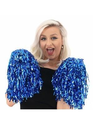Set Of 2 Glitzy Cheerleader Pom Poms In Blue