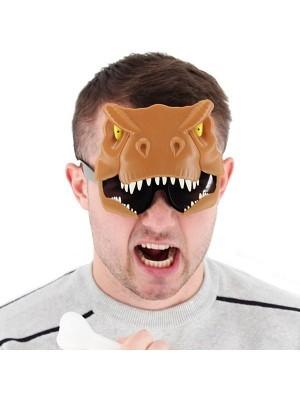 Brown T-Rex Dinosaur Head Glasses