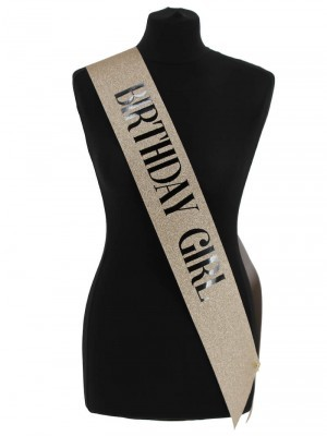 Luxury Champagne Glitter With Black Foil 'Birthday Girl' Sash