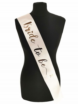 Champagne With Rose Gold Diamond Ring 'Bride To Be' Sash