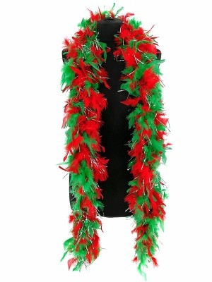 Luxury Xmas Red & Green Feather Boa with Glitter – 80g -180cm