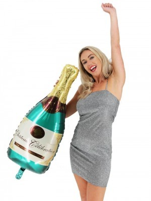 Giant Classic Gold With Green Champagne Bottle Balloon
